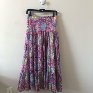 LRL Pink Multi Patterned Maxi Skirt- Size 1X